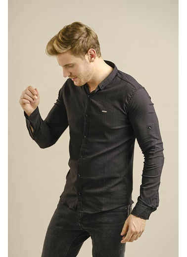Oksit Hilti 236202 Slim Fit Likralı Fitilli Gömlek Siyah
